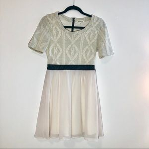 Monteau Short Sleeve Mixed Media Dress Size M
